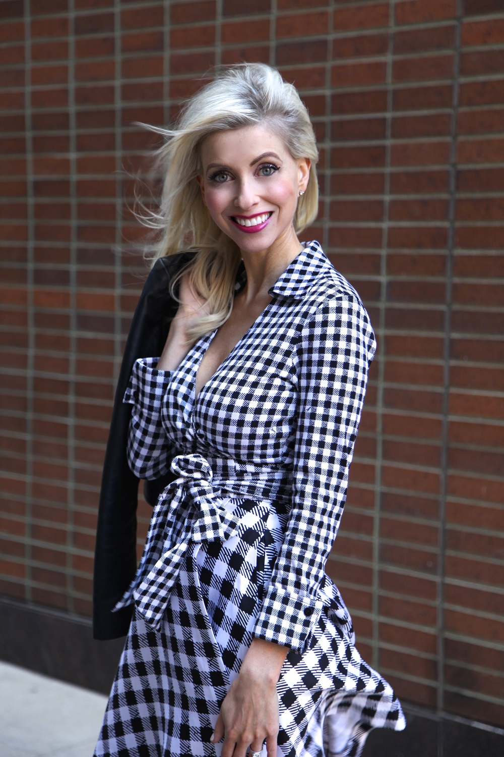 DVF Gingham Blown in the wind