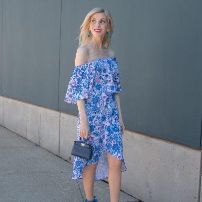 Off the Shoulder Floral Skirt Set
