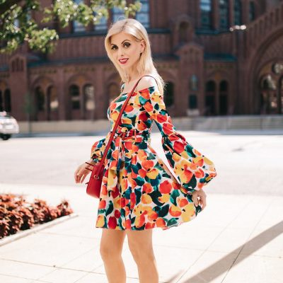 A bright colored dress you'll wear well into fall